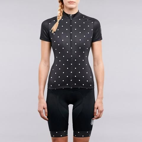 Women's polka dot cycling jersey