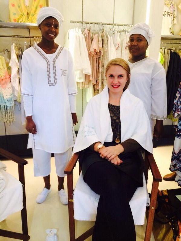 The stunning Jenna from @ElleMagazine getting pampered by the talented #Mangwanani ladies #NicciSummer15 #CapeTown