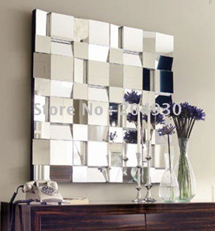 Contemporary bathroom vanity on decorative bathroom wall for Long decorative wall mirrors