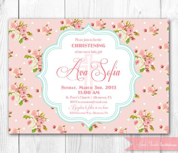 Christening Invitation. Baptism Invitation. Shabby Chic DIY Printable Invitation. on Etsy, $14.00