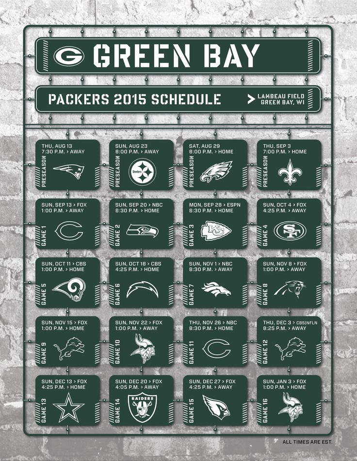 Green Bay Packers Schedules 2019-20 - Game Time View
