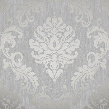 Henderson Interiors Chelsea Glitter Damask Wallpaper Soft Grey / Silver (H980504) - Henderson Interiors from I love wallpaper UK