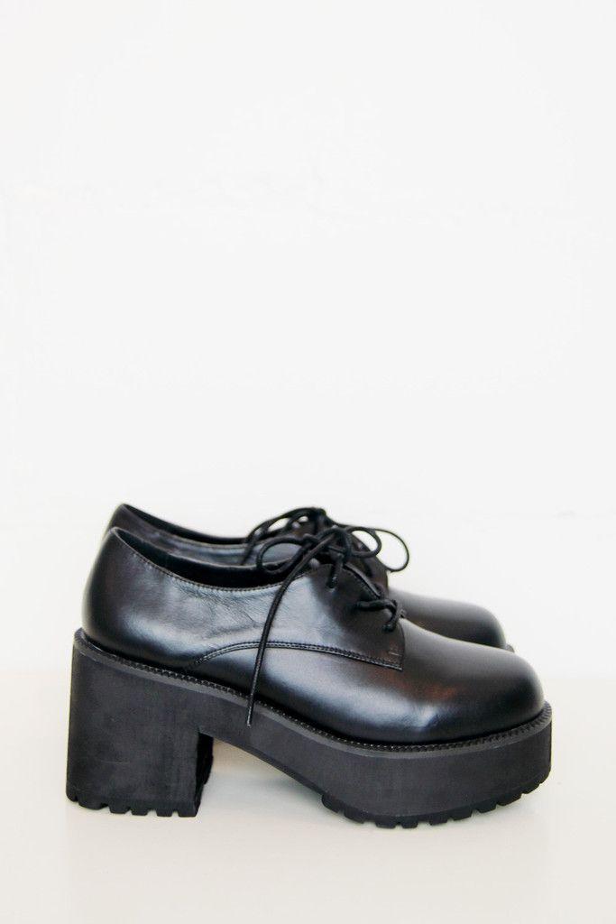 Leather Chunky Heel Brogue Black £80.: