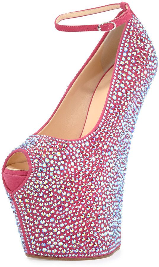 Giuseppe Zanotti Pazzia Crystal Ankle-Strap Wedge, Hot Pink
