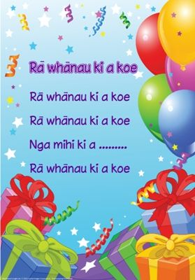 Maori poster: Happy Birthday; print out for recognition of bdays (celebration)