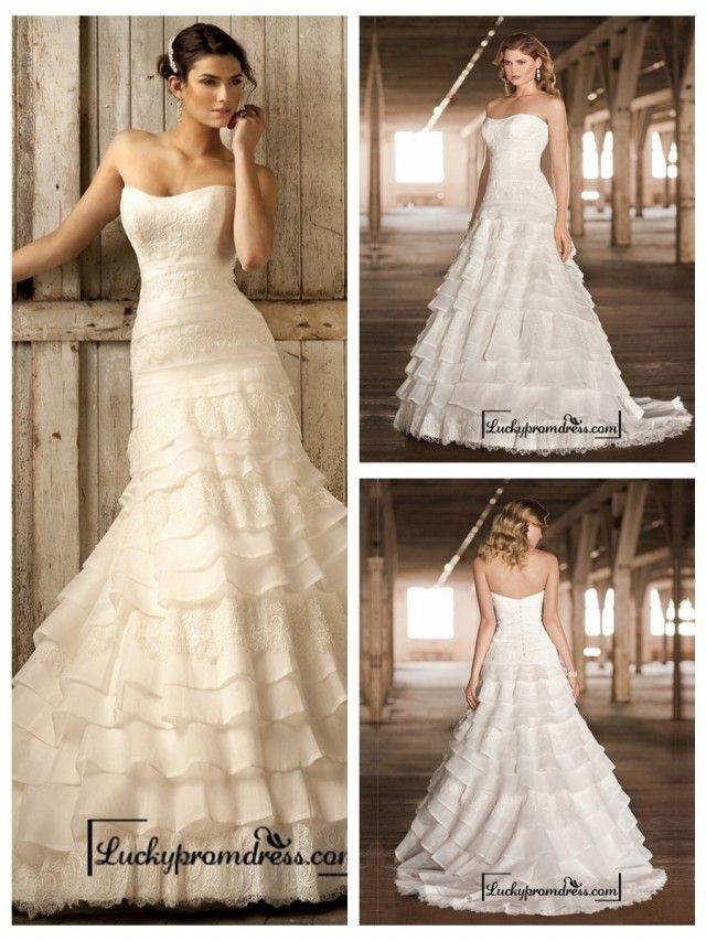Strapless A-line Scoop Neckline Tiered Ruffled Vintage Wedding Dresses