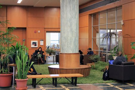 Mann Green Space: Libraries around campus lay down lawn to create oases of calm during study week.
