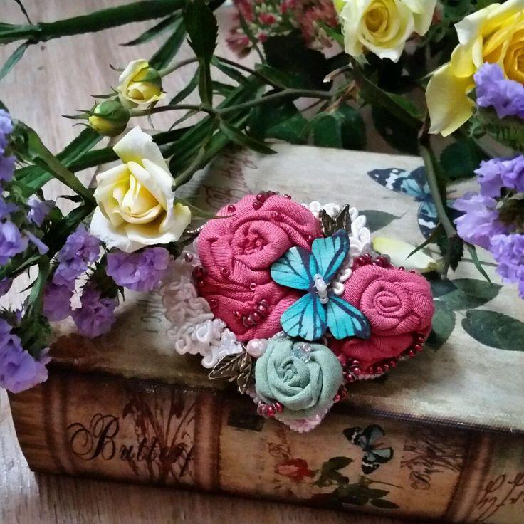"""Купить Брошь-заколка""""Уходяшее лето"""" - брошь ручной работы, заколка с цветами, тканевые цветы"""