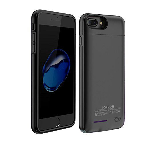 """Battery Charger Case - Black 5.5"""" iPhone 7 plus- 6 plus-6S plus  http://topcellulardeals.com/product/battery-charger-case/?attribute_pa_color=black-5-5-iphone-7-plus-6-plus-6s-plus  MAGNETIC BRACKET: the top cover can be worked and Magnetic bracket Cell Phone Car Mount Holder Smartphone Stand for iPhones, Tablets, Home, Office, Kitchen, Installs on Any Flat Surface Universal. LATEST UPDATE: Indmird battery case is made of 2pcs Magnetic protective case to Attract each other. M"""