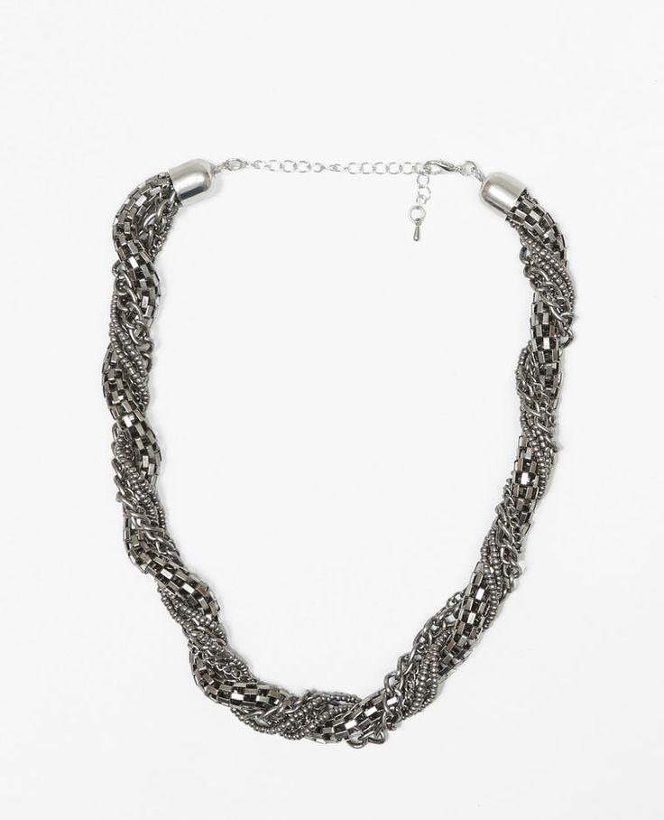 Collier tube chaîne gris