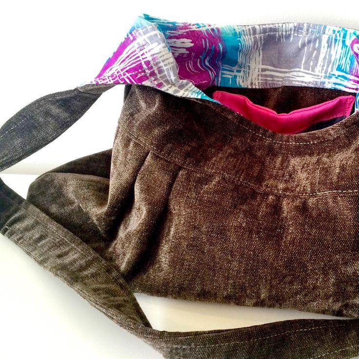 New listingIndividual, one off, handmade handbag. Soft brown with vintage purple and blue hash fabric.