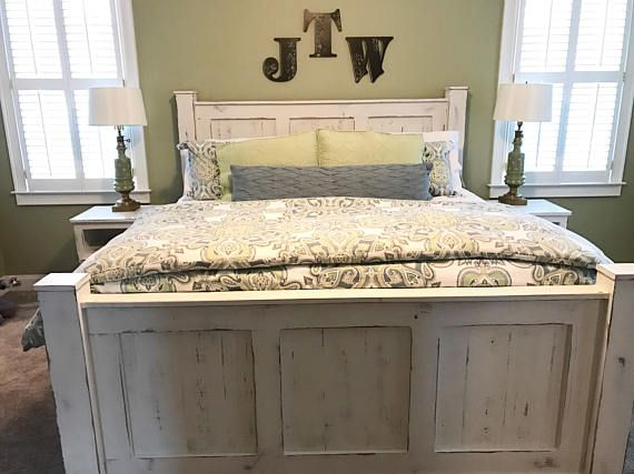 The ultimate look for a beach cottage or shabby chic inspiration to this white distressed panel bed carries you away to a dreamy time and place. This white distressed finish is easy on the eyes and relaxing. Plank-style detailing in the headboard and foot board incorporates a classically rustic touch, so homey and comforting. This listing is for a WHITE panel bed in any size you choose and also let us know how much or little you want it distressed! When you check out please let us know how…