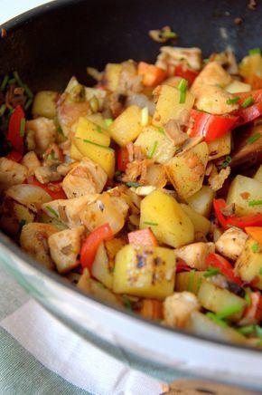 Salteado de patata, pollo y verduras. Receta rápida y deliciosa ideal para el verano.