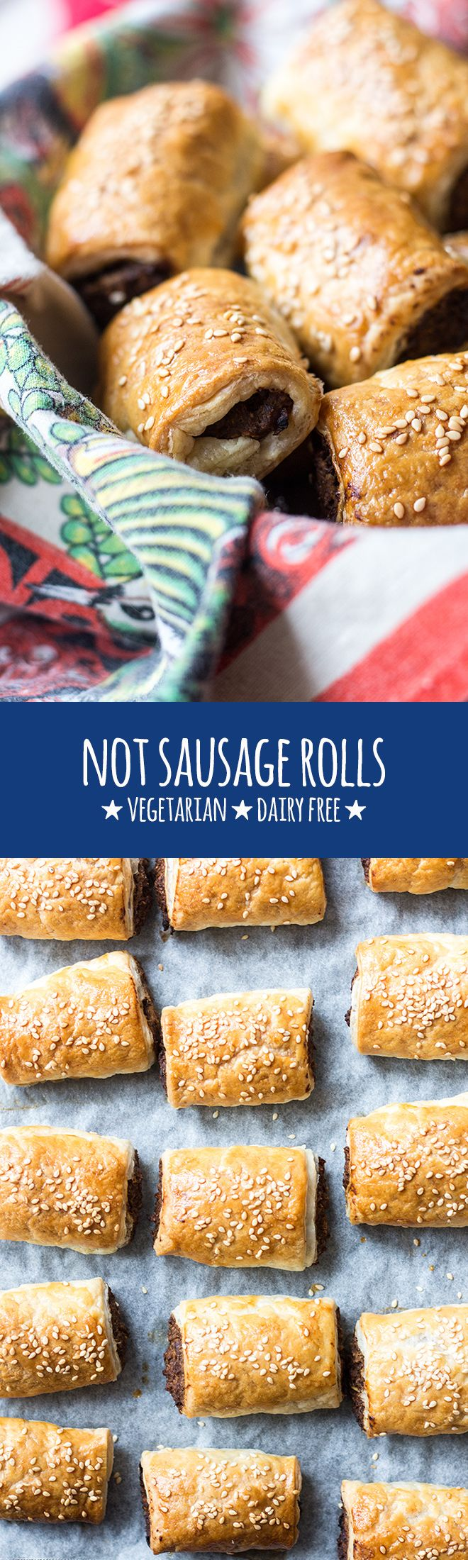 These vegetarian not sausage rolls are perfect finger food for parties, casual gatherings and 'bring a plate' events.  via @quitegoodfood