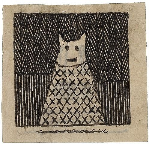 Untitled (Happy), no date, James Castle (1899-1977), (self-taught outsider art), found paper and soot, 3 3/4 x 4 in., USA