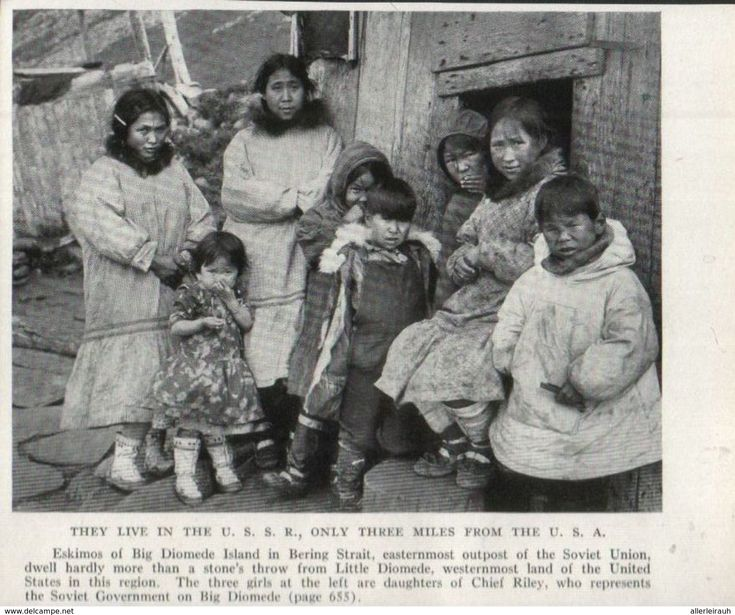 Eskimos Of Big Diomede Island In Bering Strait /  Print, Taken From A Journal/ 1939 - Bücher, Zeitschriften, Comics