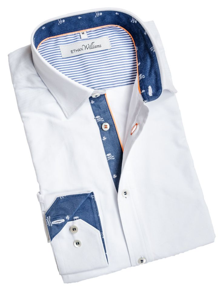 Ethan Williams White dress shirt with navy blue liner and skulls - Lucie