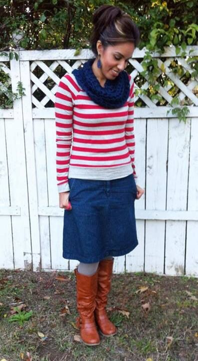 navy infinity scarf striped sweater jean skirt gray