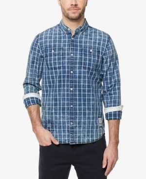 Buffalo David Bitton Men's Grid-Pattern Button-Down Shirt - Blue XXL