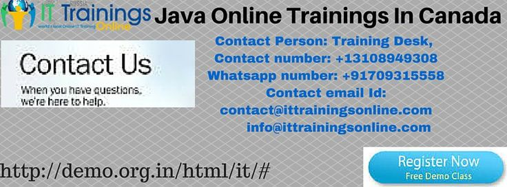 Core Java Online Training by IT Trainings  Register the Core Java online training course with us and make yourself Core Java professional.We will give you 100% satisfaction guarantee, After completion of Core Java Online Training we provide 24/7 365 days technical support for required candidates as we have many Core Java See more details : Contact number: +13108949308 Whatsapp number: +917093155581 contact@ittrainingsonline.com