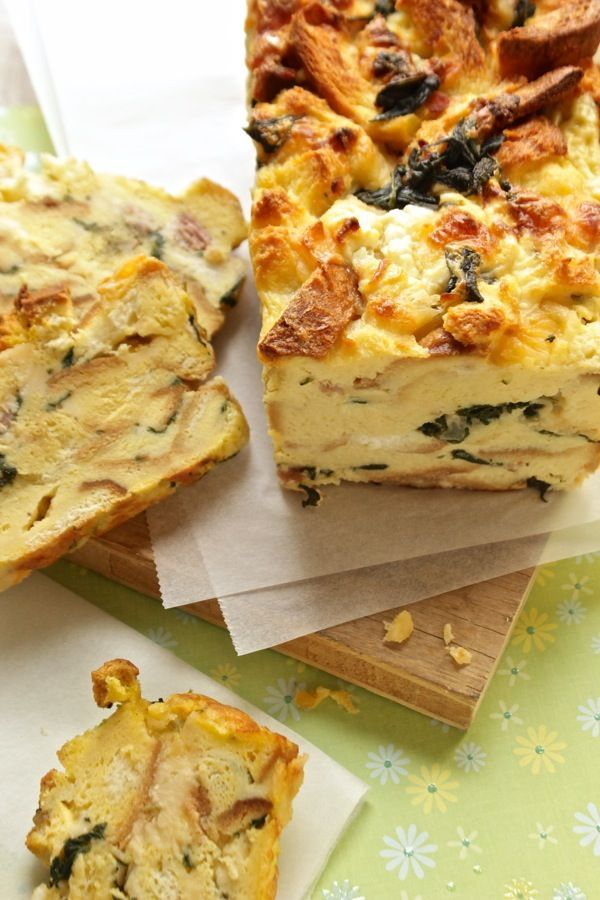 torta di pane con spinaci pancetta e caprino