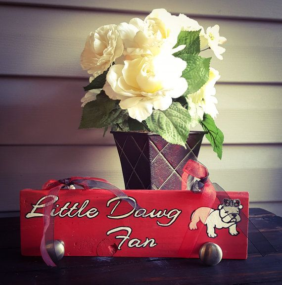PLEASE NOTE:  THIS ITEM CAN BE ORDERED BUT MAY NOT ARRIVE UNTIL AFTER CHRISTMAS!  SORRY FOR THE INCONVIENCE!   This sign would look adorable in a little girl dawg fan room.... #craftsbygaddis #handmade #woodsign #woodensign #giftforher #giftforhim #giftideas #uga #georgia #bulldog #red #knobs #jewelry #storage #hanging #hook ➡️ http://etsy.me/2iP9cZP