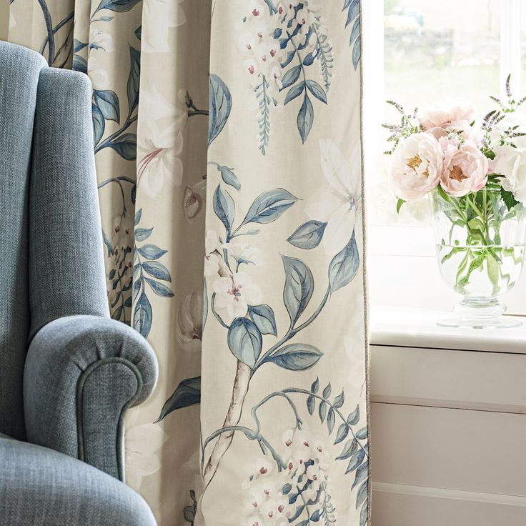 Hazelwood is an elegant floral trail painted in watercolour. Designed with a classic trail layout, the generous scale and restrained use of colour help to give this design a contemporary feel. Delicate highlights of white pigment bring added dimension to the flowers, differentiating it from a digitally printed fabric.