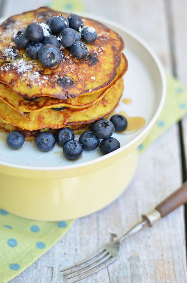 Gluten free pancakes, with bananas and blueberries