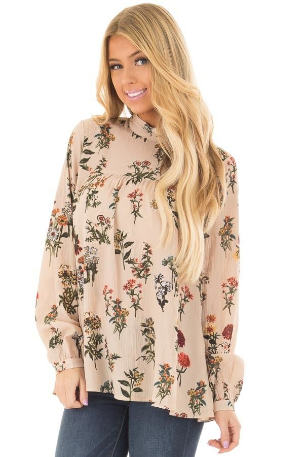 e278c8d189e80 Beige Floral Print High Neck Blouse with Keyhole Back | Awesome Tops ...