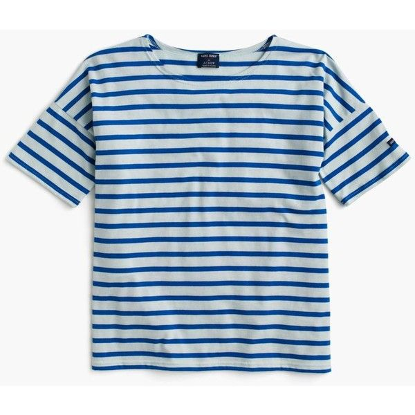 Saint James For J.Crew Short-Sleeve Slouchy T-Shirt ($110) via Polyvore featuring tops, t-shirts, breton stripe shirt, breton striped shirt, nautical t shirts, slim t shirt and slouchy tee