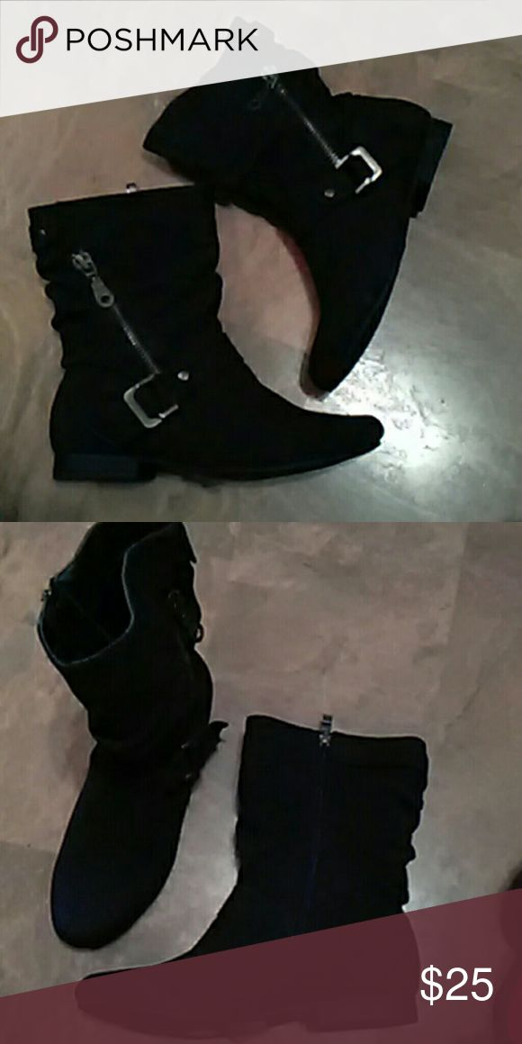 """New""""DBDK""""Ladies Black Boots SZ.6.5 Black faux suede boot with inside zipper and outside zipper pockets and buckle instep straps.New.Cute boots. DBDK Shoes Ankle Boots & Booties"""