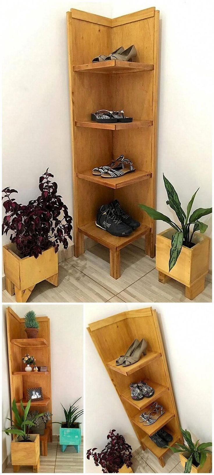 Palletfurniture Pallet Corner Shoe Rack With Planters