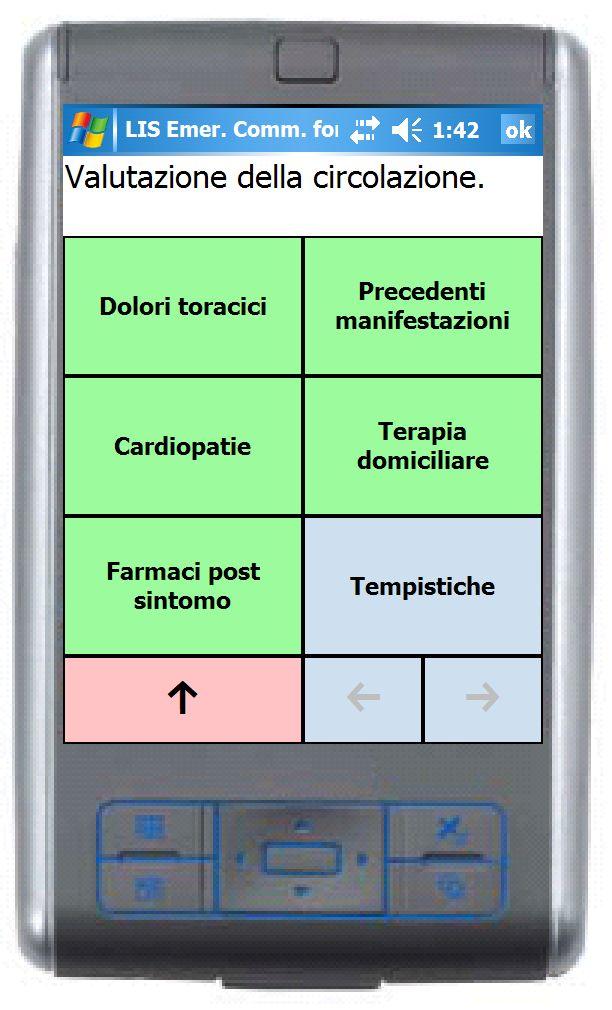 l'interfaccia di SLEC per esplorare la collezione di frasi utili nel contesto di un'emergenza medica