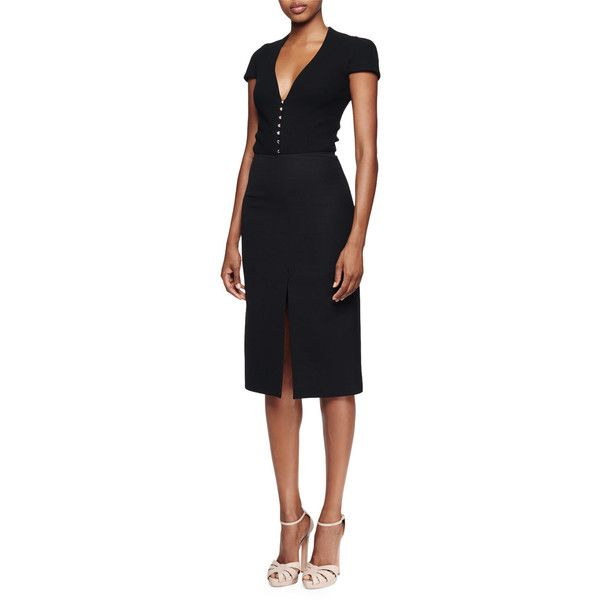 Alexander McQueen Cap-Sleeve Deep-V-Neck Dress (7,225 PEN) ❤ liked on Polyvore featuring dresses, black, deep v neck black dress, black cap sleeve dress, deep v-neck dress, cap sleeve dress and plunging v neck dress