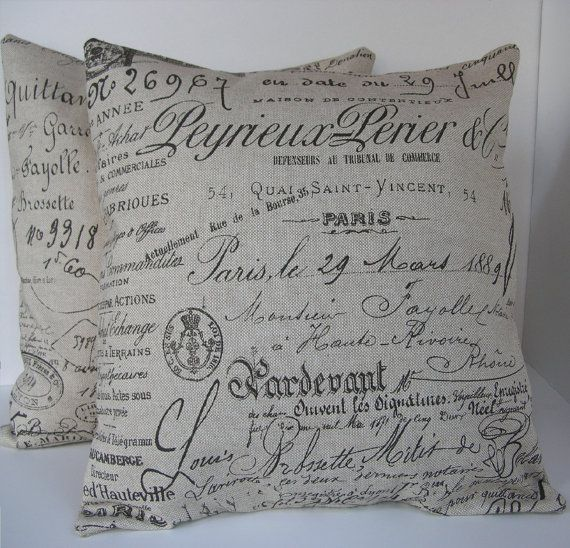 "Two (2) Decorative French Script Pillow Covers - Beige with Chocolate Writing  Made to Fit 18"" x 18"" Pillows"