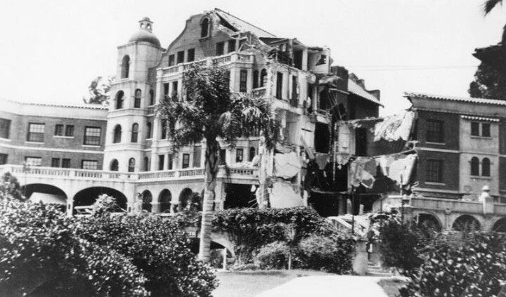 Damage to Pasadena Hotel from Long Beach earthquake 1933