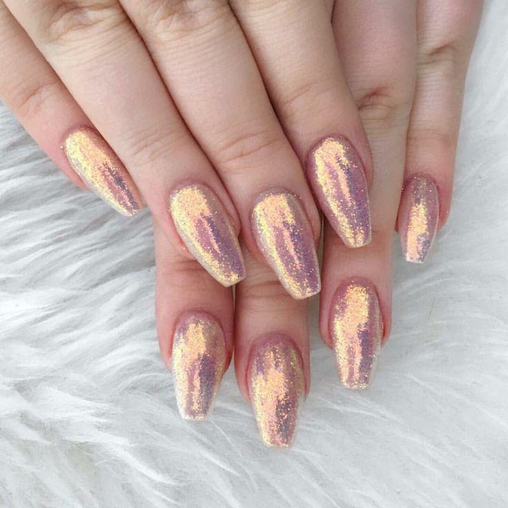 Iridescent glitter nails