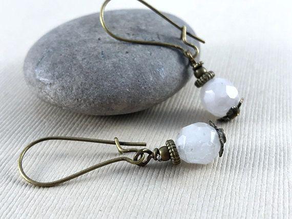 Rose Quartz Gemstone Earrings - Pink Earrings - Brass Earrings - Dangle Drop Earrings - Gift for Women - Boho Earrings - Bohemian Jewelry