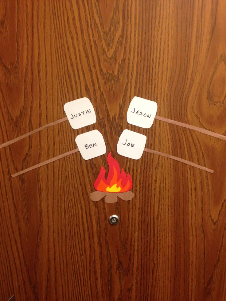 RA Campfire S'more Door Decs for a guys floor