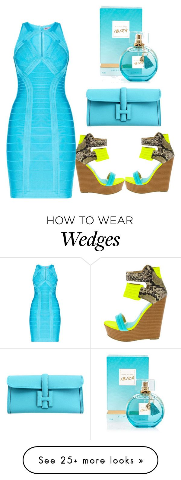 """""""Untitled #2127"""" by styledbycharlieb on Polyvore featuring Hervé Léger, Hermès and River Island"""