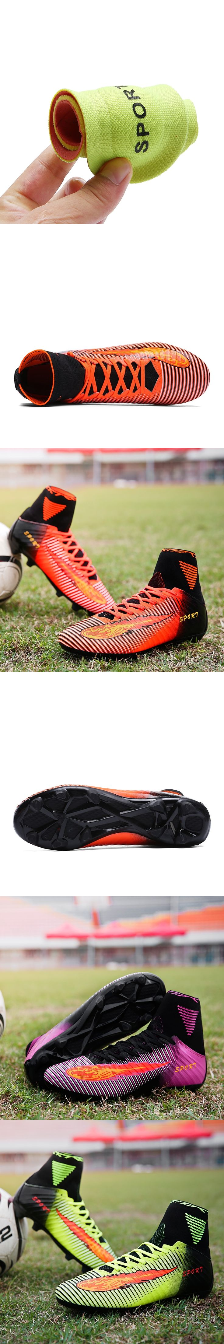 FG Soccer Shoes Men Football Boots Kids High Top Adults Soccer Cleats Outdoor Children Athletic Trainers Youth Sports Sneakers