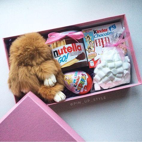 Geschenk Mädchen Kuscheltier Nutella Ü-Ei Marshmallows Schokolade