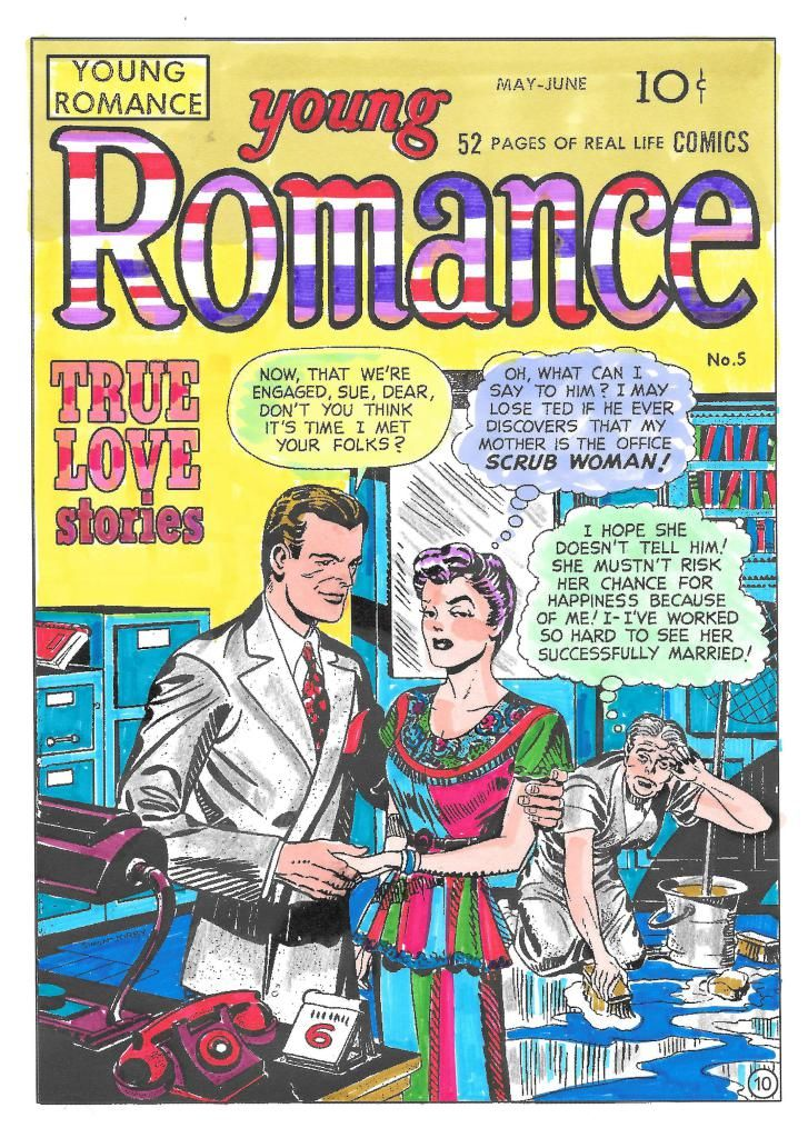 Young Romance From Romance Comic Coloring Book #1  Colorist: Lucy L., New York, NY Medium: Colored pencils.  Buy Romance Comic Coloring Book #1 Here