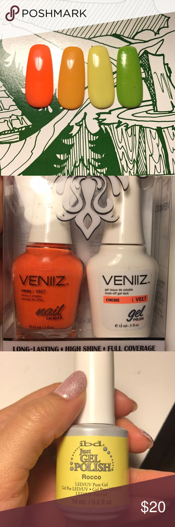 Never used gel polishes Never used just for these swatches. They are great nail art colors to create colorful nail art. The orange one comes with the matching regular polish. The green one has slight shimmer. These are all very good gel polish brands. I am nail tech so all of these were bought from a good source. Makeup Brushes & Tools
