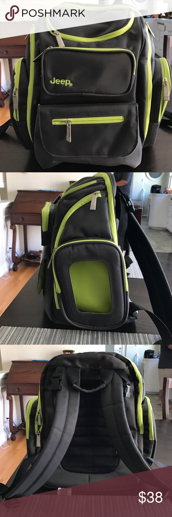 Jeep Diaper Bag for Dad Excellent condition, only used once. Great backpack to use for baby. Organizes baby items in many compartments. Colorful & clean. Jeep Bags Baby Bags
