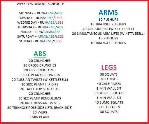 Weekly Workout Plan  Sample Ideas