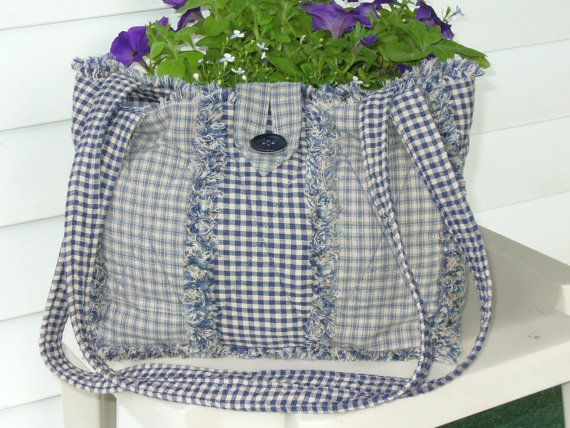 Rag Quilt Purse Country Blue Homespun Primitive by Ashlawnfarms, $38.00