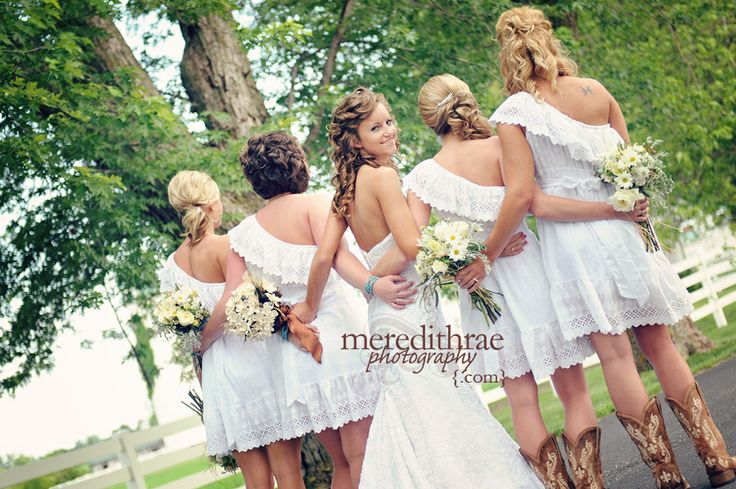 Only one wearin white on the day of the weddin should be the bride, but I loooove the idea of this :)   bride and bridesmaids