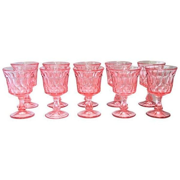 Pink Depression Glass Wine Glasses - Set of 10 ($110) ❤ liked on Polyvore featuring home, kitchen & dining, drinkware, glasses, pink wine glasses, pink wine glass, colored wine glass, coloured wine glasses and pink depression glass wine glasses