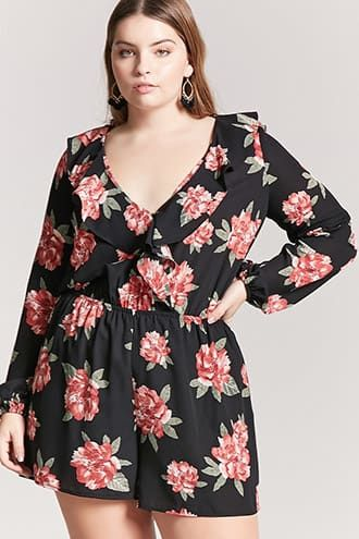 909daa8bca71 Plus Size Plus Size Floral Ruffle Romper